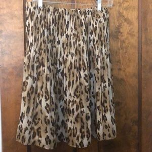 Allison Taylor Leopard A Line Skirt Large